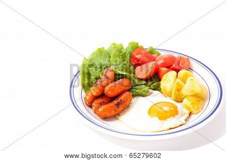 Vegetables And Sausage And Fried Egg