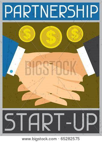 Start-up Partnership. Retro poster in flat design style.