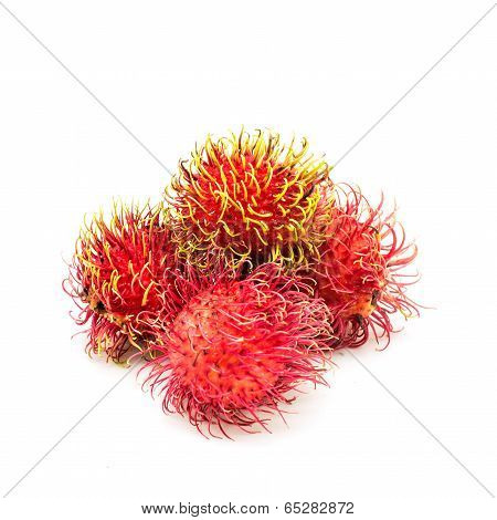 Close Up Group Of Rambutan
