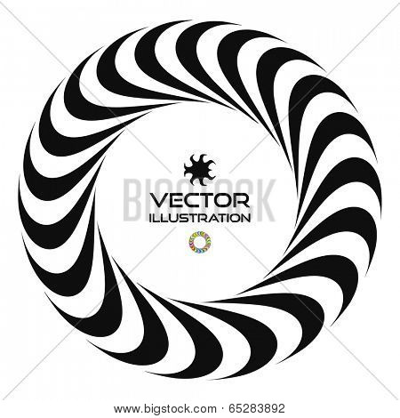 Black and white vector illustration of 3d ring. Vector template. Optical Art. Infinity sign.