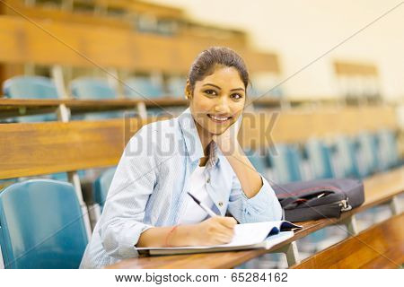 female indian college student in lecture hall