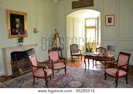 In style kept rooms in the castle of Villandry
