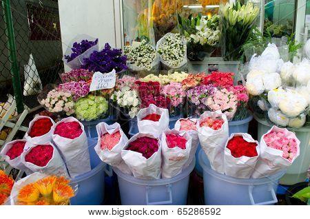 Colorful Flowers At The Flowermarket In Bangkok ,thailand