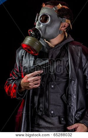 Private detective with bulletproof vest and gas mask