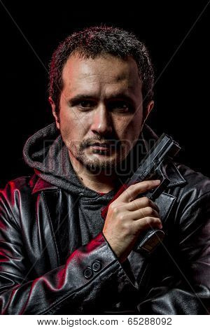 Private detective with leather jacket and gun, inspector