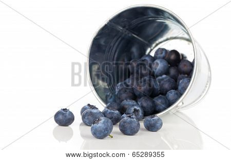 Blueberry Berries In A Metal Bucket, Isolated On White Background