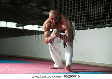 Martial Arts Man In Kimono Exercising Karate