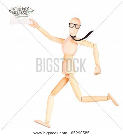 wooden Dummy with envelope full of money