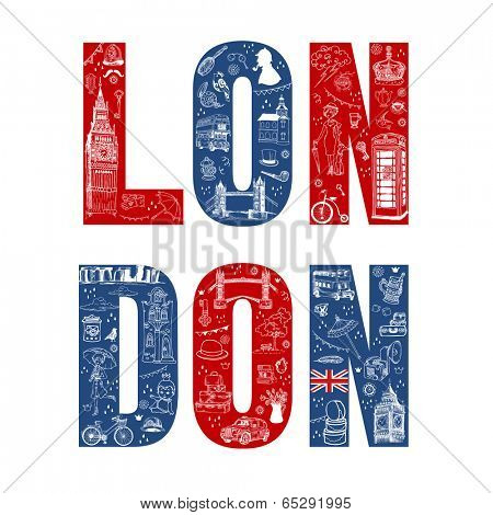 London Illustration Card - hand drawn in vector