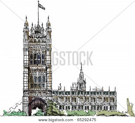 Sketch collection, London, Parliament tower in Westminster