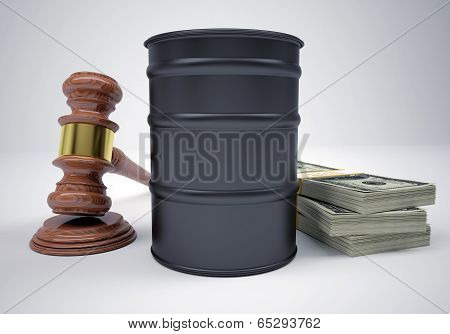 Gavel, wads money and barrel of oil