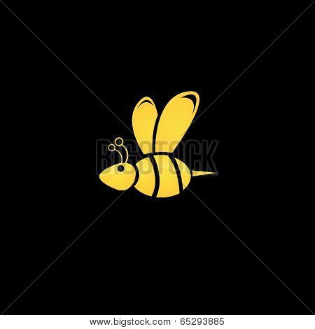vector golden bee icon on black background