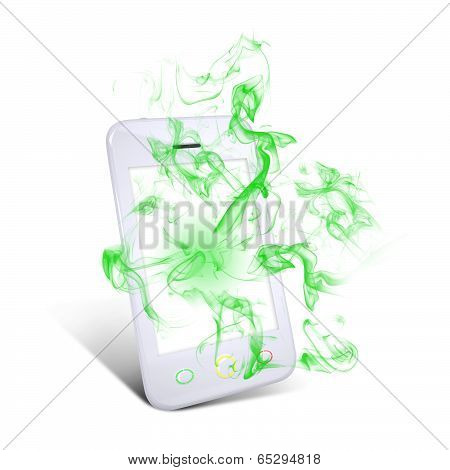 White smart phone emits green smoke
