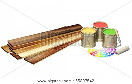New oak parquet and paints. Isolated on white background