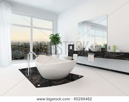 Luxury bathroom interior with nice white freestanding bathtub