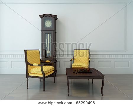 Vintage interior of an empty living room with two overhung chairs, a pendulum clock and a chessboard on a wooden coffee table