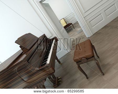 Oblique view of a vintage interior with a classical brown grand piano, an adjustable chair and an open white door towards another room