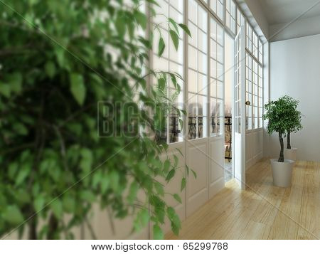 Close-up picture of half-opened balcony door and blurred houseplant in front