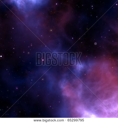 Illustration of solar system with milky way, nebulas and stars