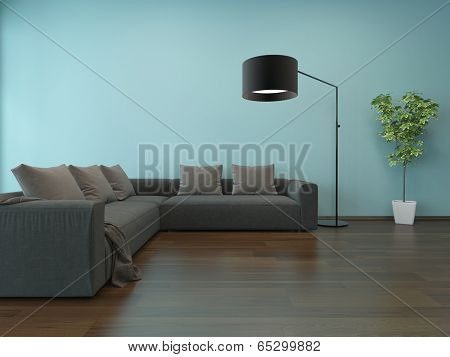 Living room interior with blue wall, gray couch and floor lamp