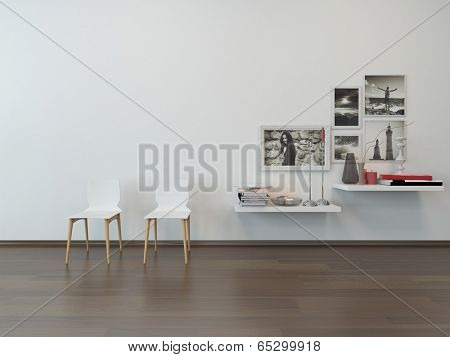 Close-up of two white chairs against white wall and sideboard with nice decoration