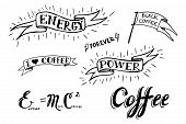 stock photo of silkscreening  - Set of hand drawn coffee theme elements - JPG