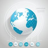 stock photo of intranet  - World globe with number stickers Business software and social media networking service concept - JPG