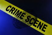 foto of crime scene  - Yellow crime scene tape and a fingerprint - JPG