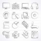 pic of peripherals  - Computer peripherals and accessories icons  - JPG