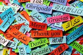 foto of text cloud  - Thank You Word Cloud printed on colorful paper different languages - JPG