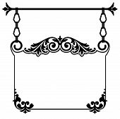 picture of scrollwork  - Elegant Victorian style calligraphy scrollwork wrought iron frame border for a vintage ad or wedding announcement - JPG