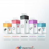 foto of parallelepiped  - 3d modern infographics options banner with colorful blocks - JPG