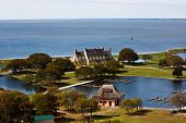 stock photo of whalehead club  - Aerial view of Heritage Park in corolla - JPG