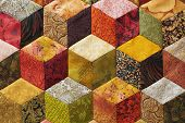 pic of quilt  - Detail of quilt sewn from pieces as diamonds - JPG