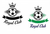 stock photo of jade  - Royal football or soccer club symbol with ball - JPG