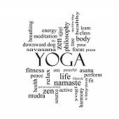 stock photo of pranayama  - Yoga Word Cloud Concept in black and white with great terms such as fitness peace pose and more - JPG