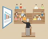 image of professor  - Professor standing in the front of the class at a lectern lecturing to students at university who are sitting in tiered seats facing the viewer  illustration - JPG