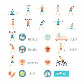 Постер, плакат: Sports and Health People Illustrations