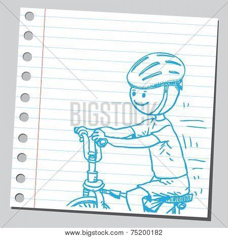 Boy with bike helmet riding bike