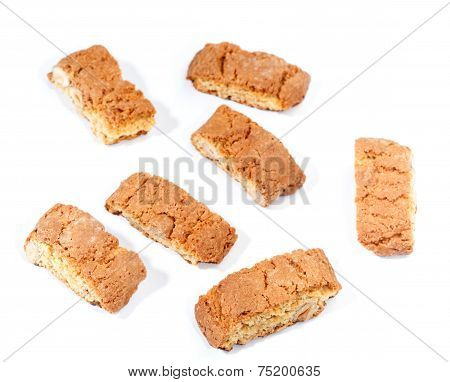 Cantuccini Cookies With Almond, Isolated On White