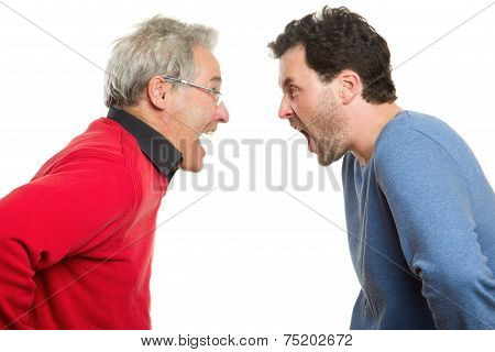 Father And Son Screaming, Generation Conflict, Argument