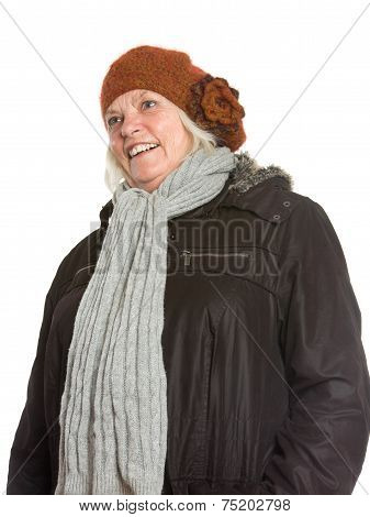 Senior Man, Winter Portraits On White Background