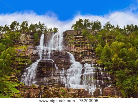 Tvinde fossen Waterfall - Voss Norway - nature and travel background