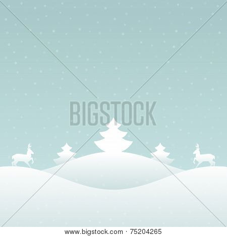Christmas retro winter lanscape and trees greeting card backgrou