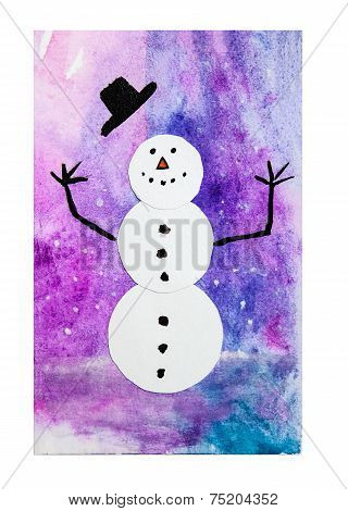 Snowman, painted image
