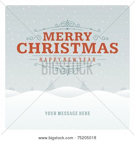 Christmas retro typographic and ornament decoration. Merry Chris