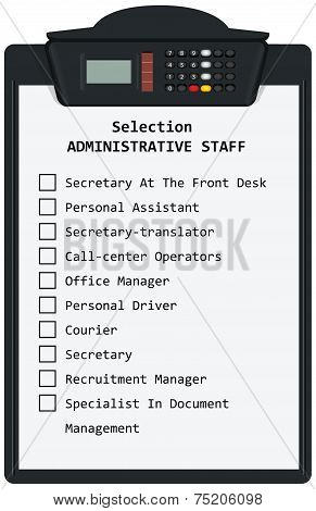 Clipboard With Selection Administrative Staff