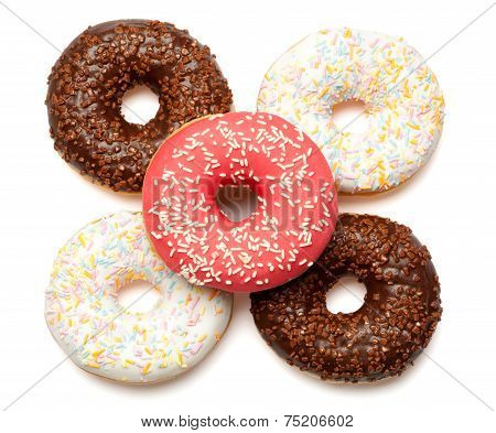 White, Red And Brown Donuts