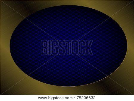 blue laser grid in bronze metallic ecllipse