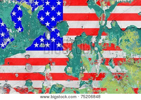 Grunge United States Flag with Flaking Paint. - A manipulated photograph with some illustration elements.